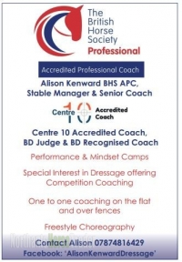 Alison Kenward BHS APC, Stable Manager and Senior Coach